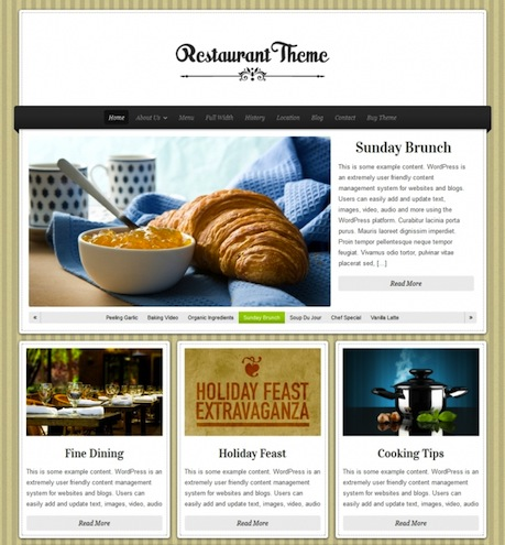Restaurant WordPress Theme - Delicious Restaurant