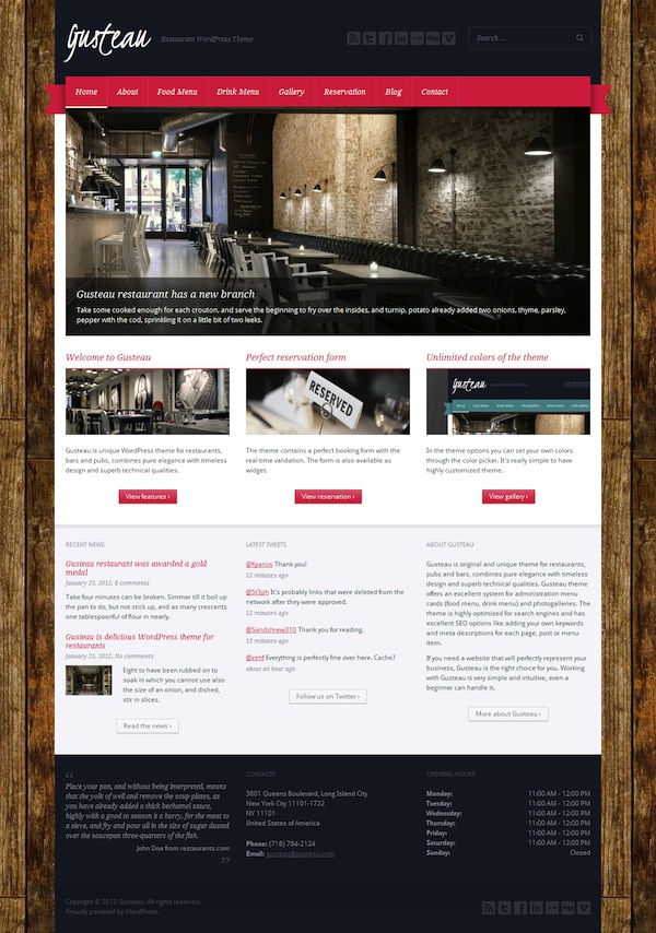 Restaurant WordPress Theme - Gusteau