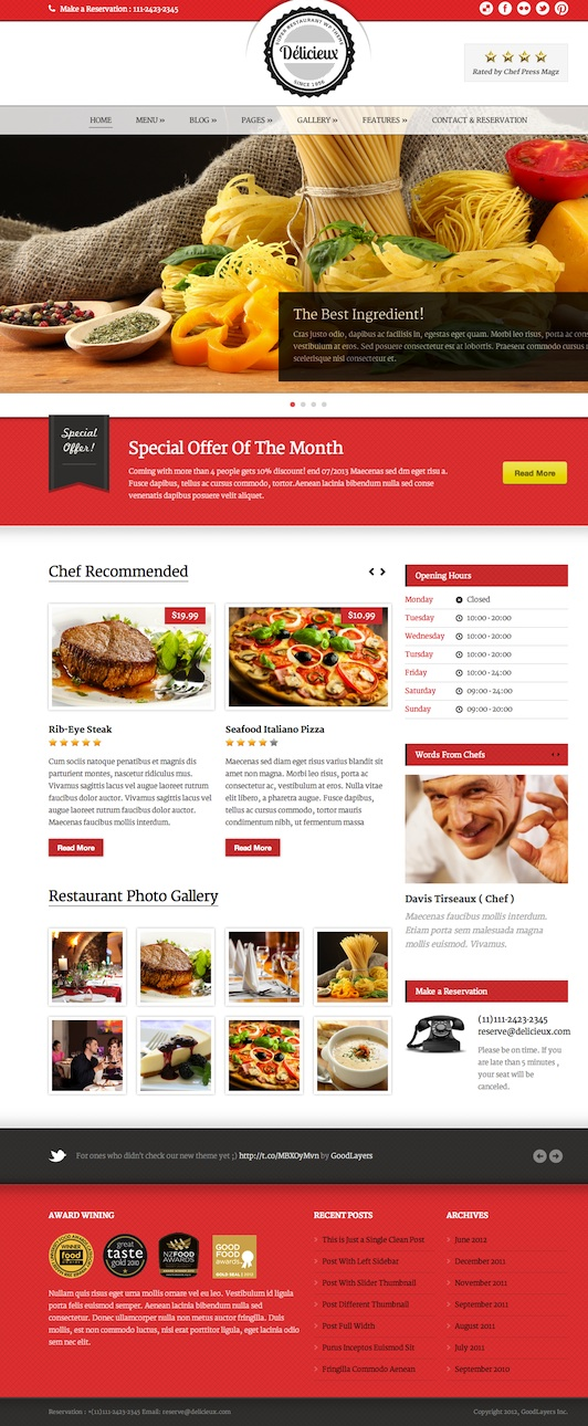 Responsive Restaurant WordPress Theme - Delicieux