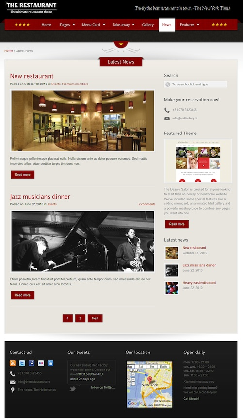 Responsive Restaurant WordPress Theme with Ecommerce and Menu Card - The Restaurant