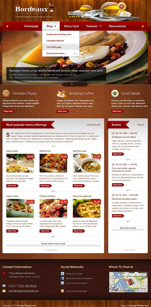 Responsive Restaurant WordPress Theme with Events & Reservation Modules - Bordeaux