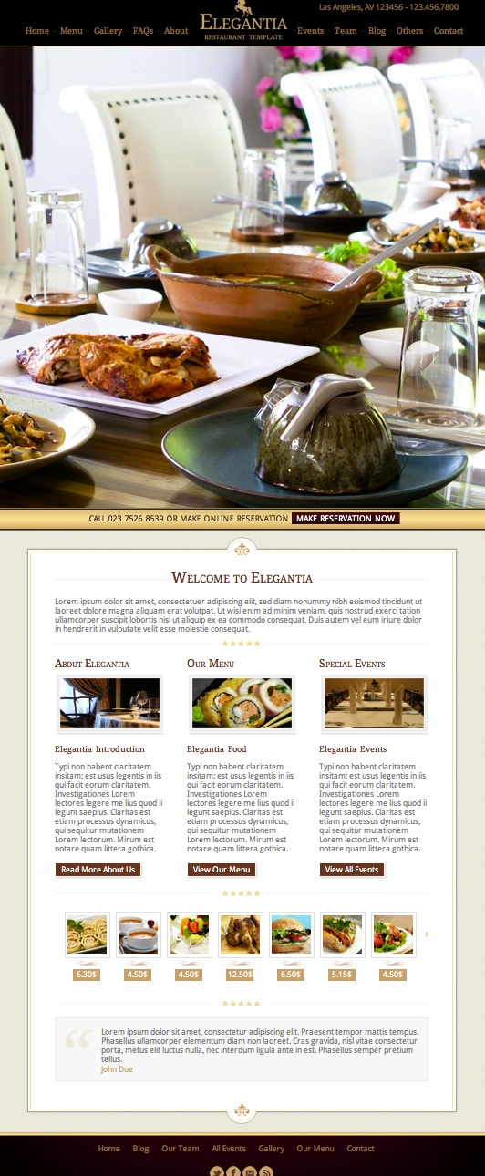 Responsive Restaurant WordPress Theme with Events & Reservation Module - Elegantia