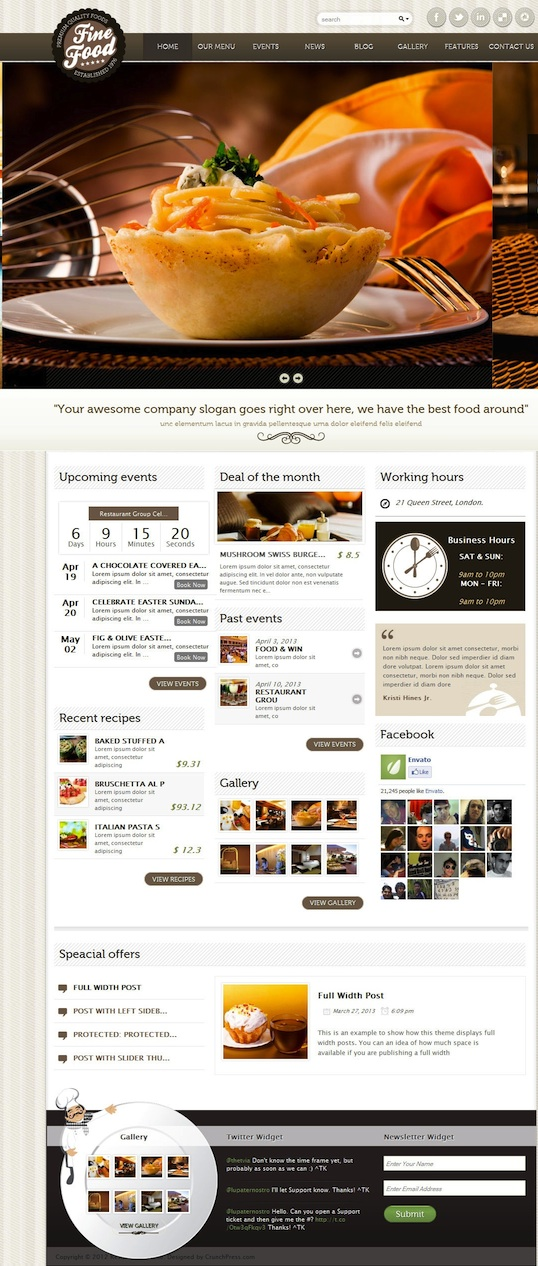 Responsive Restaurant WordPress Theme with Events and Reservations Module - Fine Foods