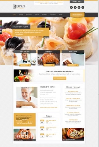 Responsive Restaurant WordPress Theme with Events and Reservations Modules - Bistro