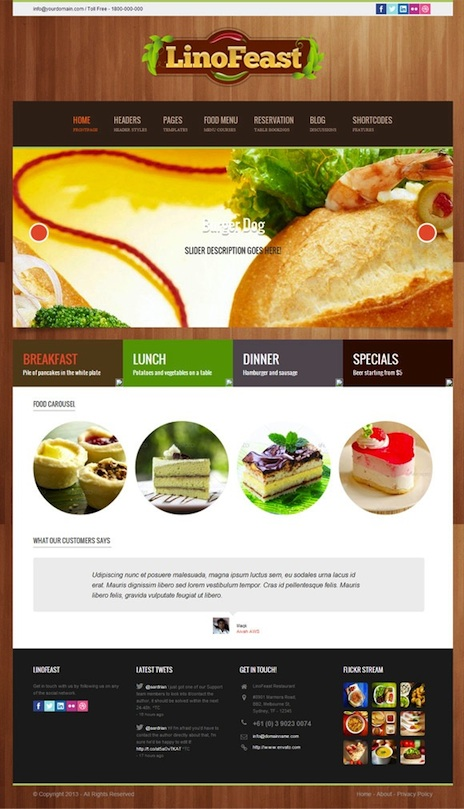 Responsive Restaurant WordPress Theme with Events & Reservations Module - LinoFeast