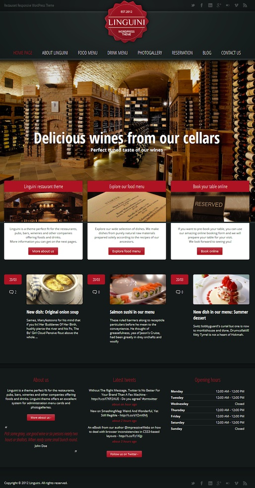 Responsive Restaurant WordPress Theme with Reservation Module - Linguine