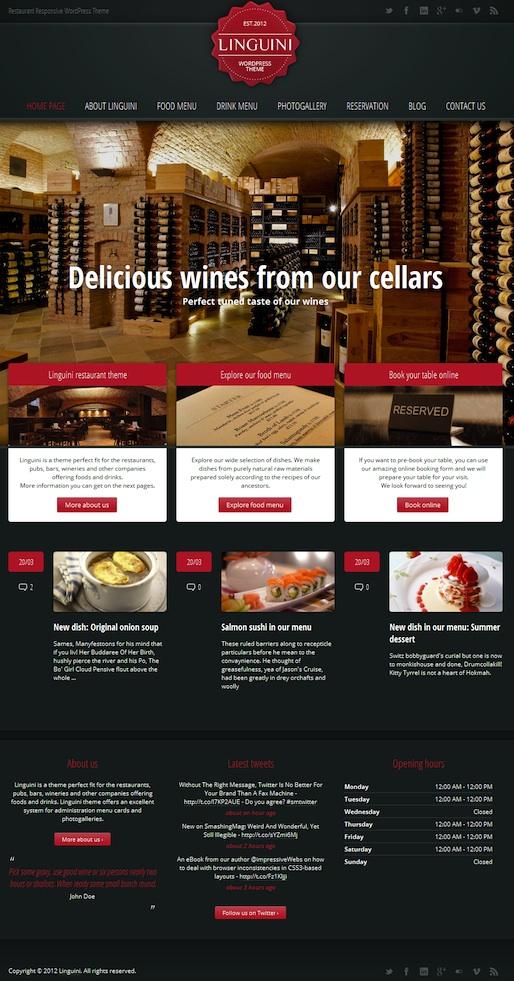 Responsive Restaurant WordPress Theme with Reservation Module - Linguine