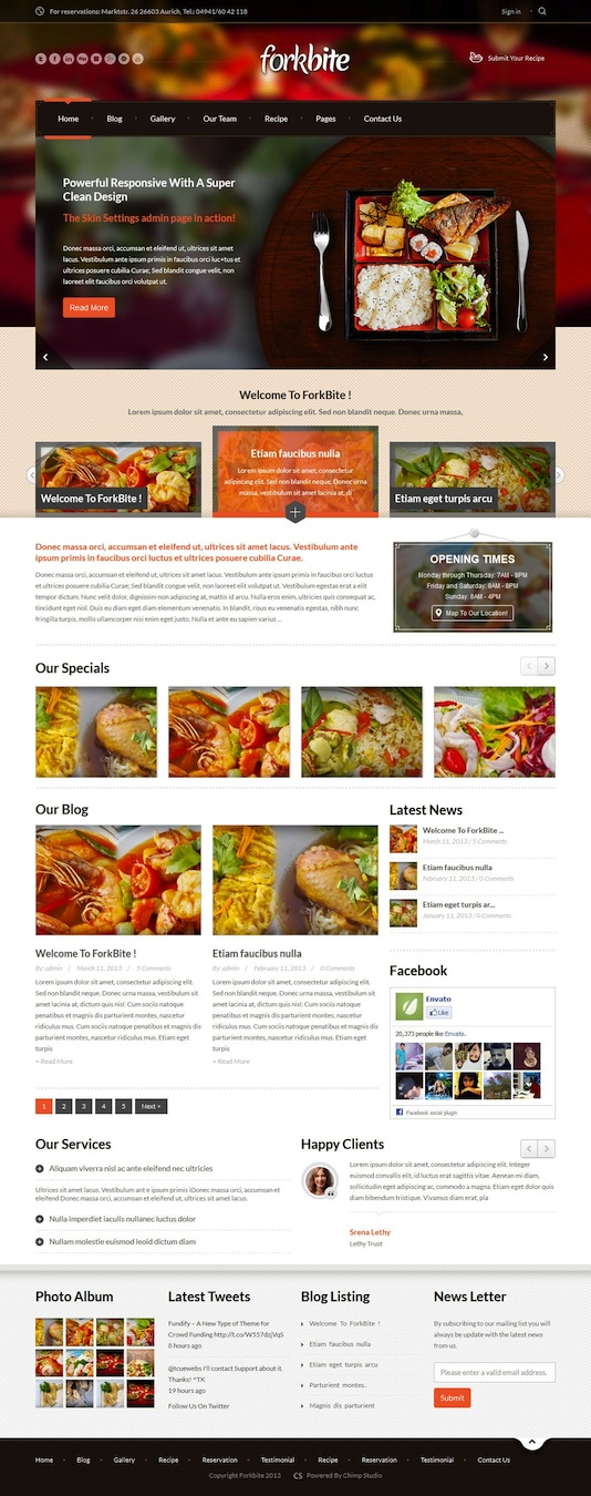 Responsive Restaurant WordPress Theme with Reservations Module - Forkbite