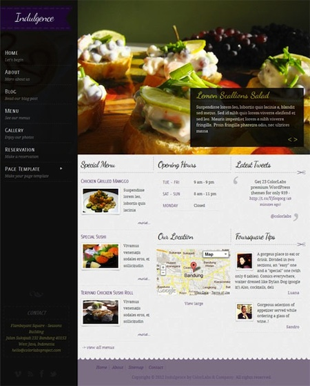 Responsive Restaurant WordPress Theme with Reservations and Menu Cards - Indulgence