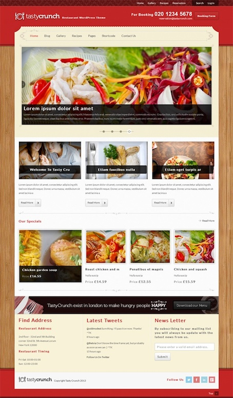 Responsive Restaurant WordPress Theme - Tasty Crunch