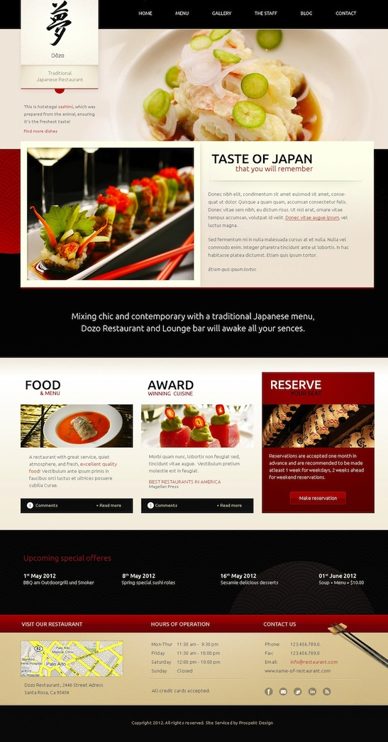 Responsive Restaurant WordPress Theme with menu cards - Taste of Japan