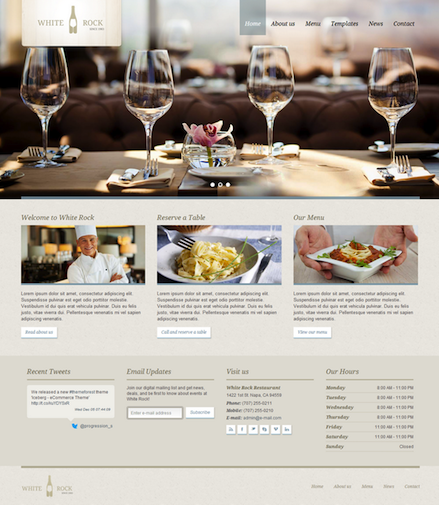 Responsive Restaurant WordPress Theme - White Rock