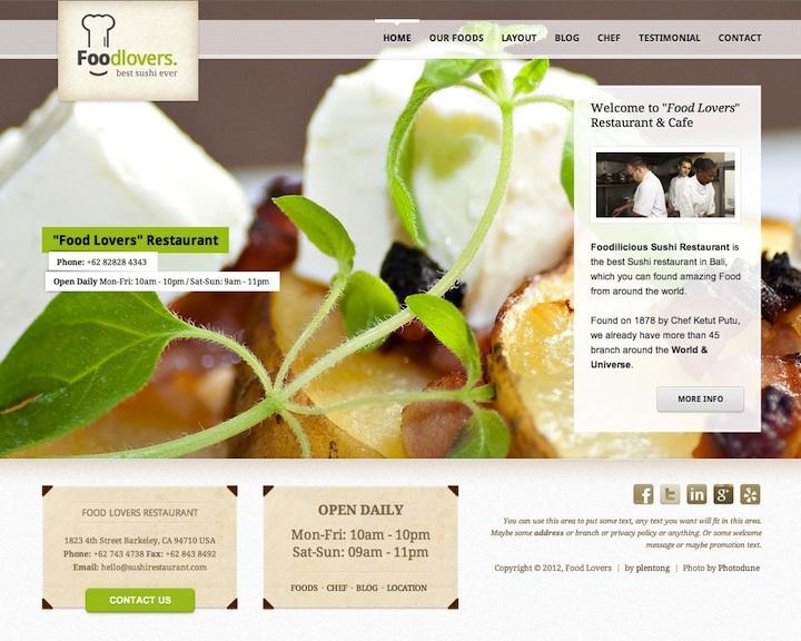 Responsive Restaurant WordPress Theme - Food Lovers