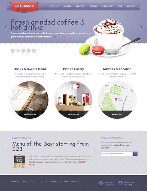 Restaurant WordPress Theme - Coffee Lounge