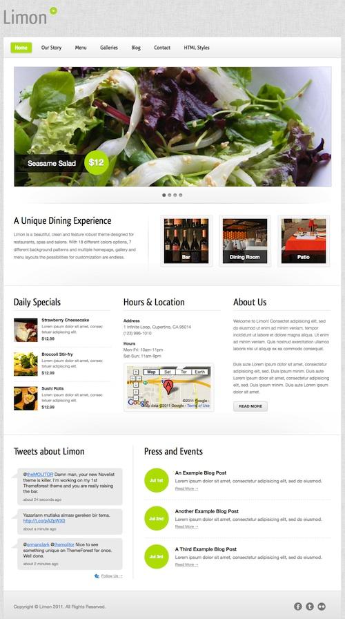Restaurant WordPress Theme - Limon