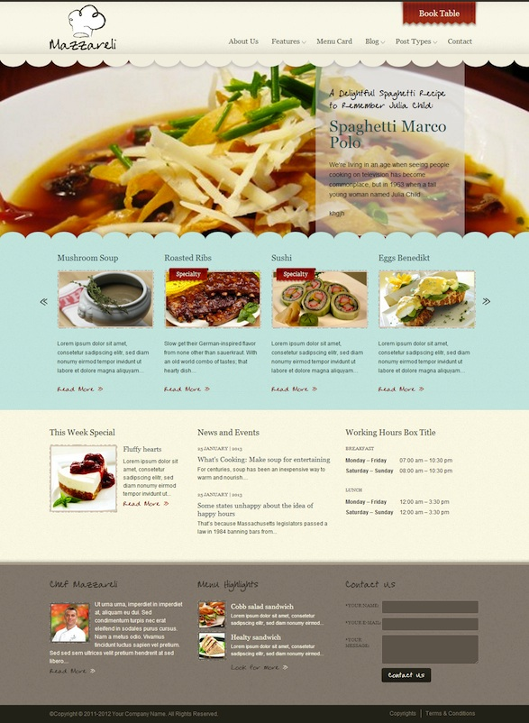 Restaurant WordPress Theme with Reservations & Events Module - Mazzareli