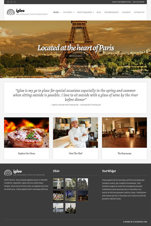 Responsive Restaurant WordPress Theme with Food Menu Card - Igloo
