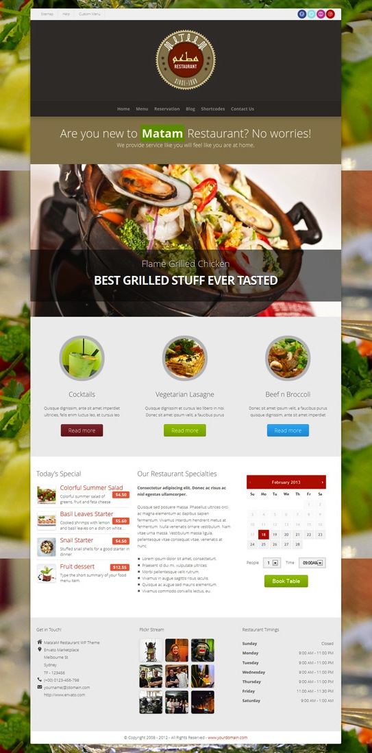 Responsive Restaurant WordPress Theme with Reservations - Mataam