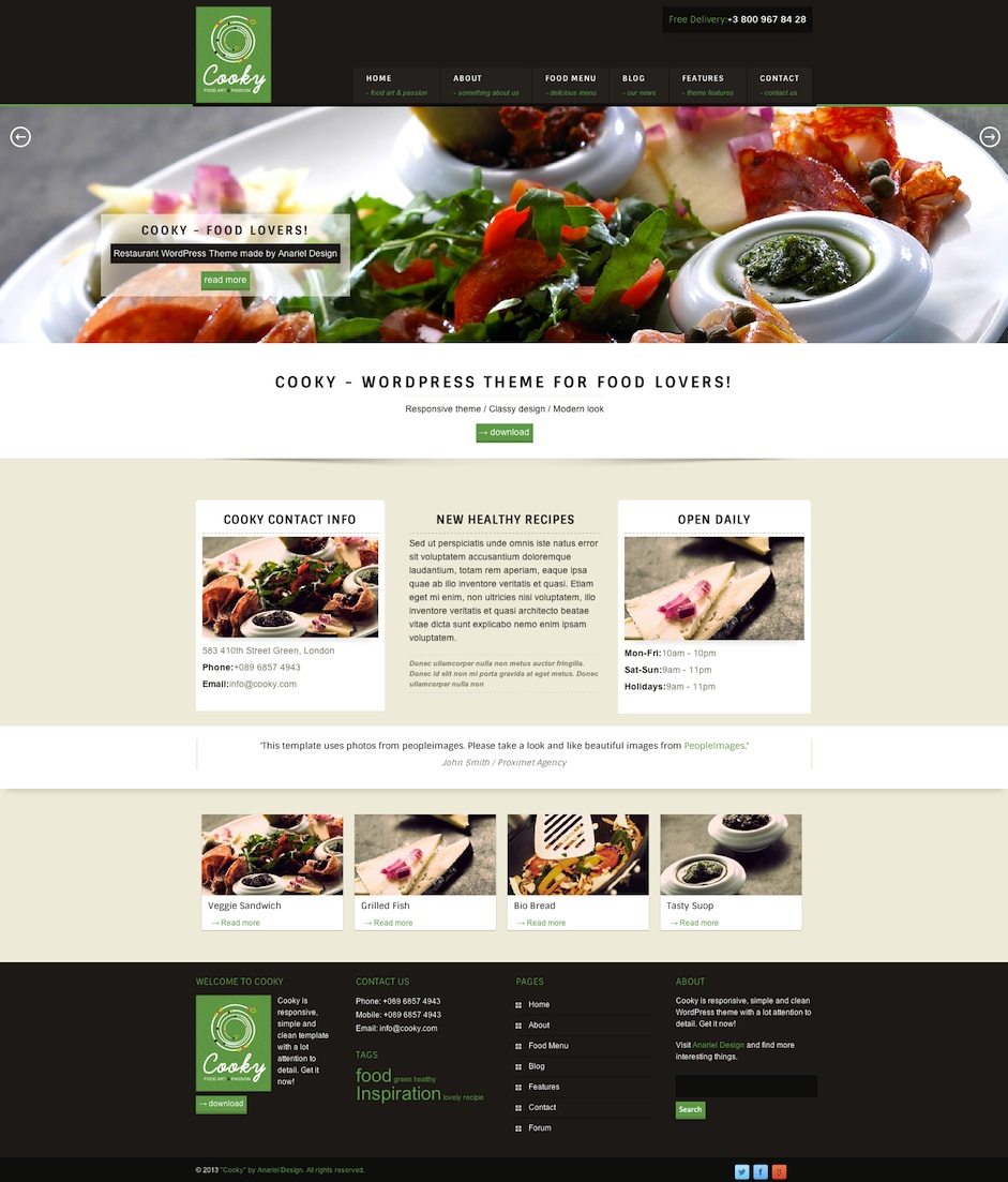 Responsive Restaurant WordPress Theme with Food Menu - Cooky