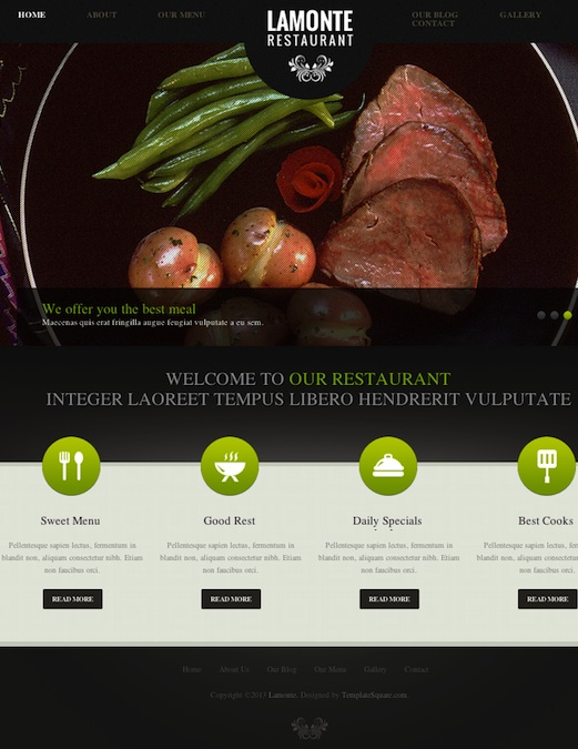 Responsive Restaurant WordPress Theme with Featured image slider - La Monte