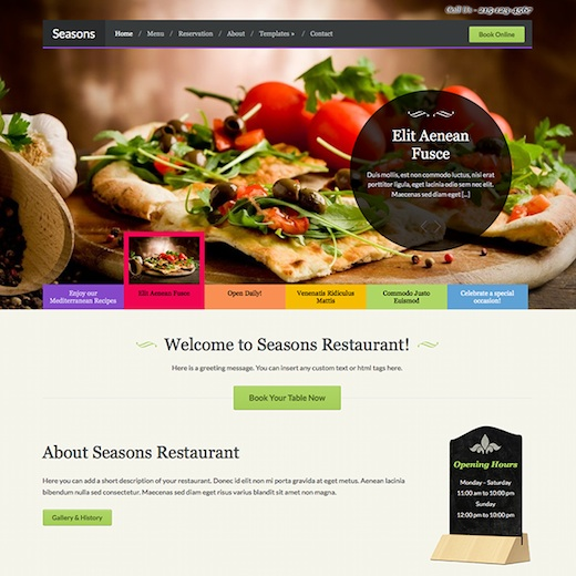 Responsive Restaurant WordPress Theme with Online Booking Module - Seasons