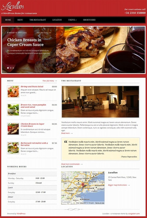 Restaurant WordPress Theme with Food Menu Cards - Lucullan