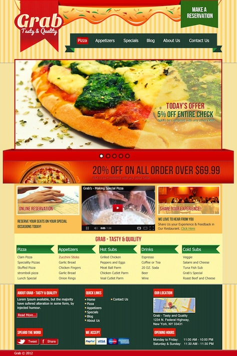 Restaurant Template with Reservations - Grab