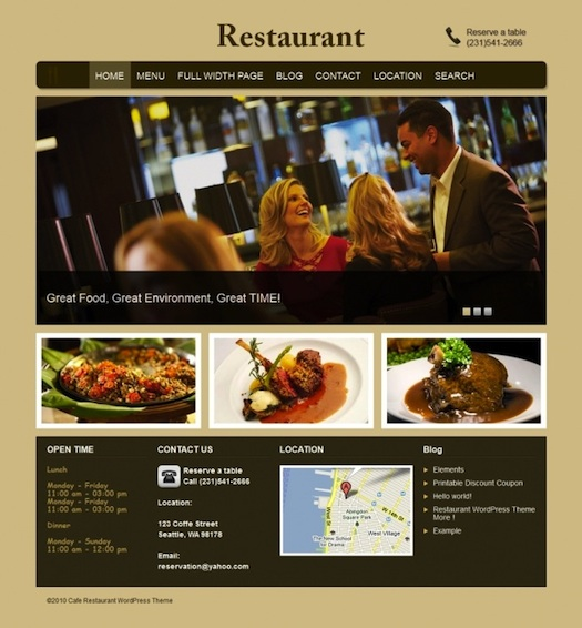 Restaurant WordPress Theme with Food Menu Cards - Restaurant