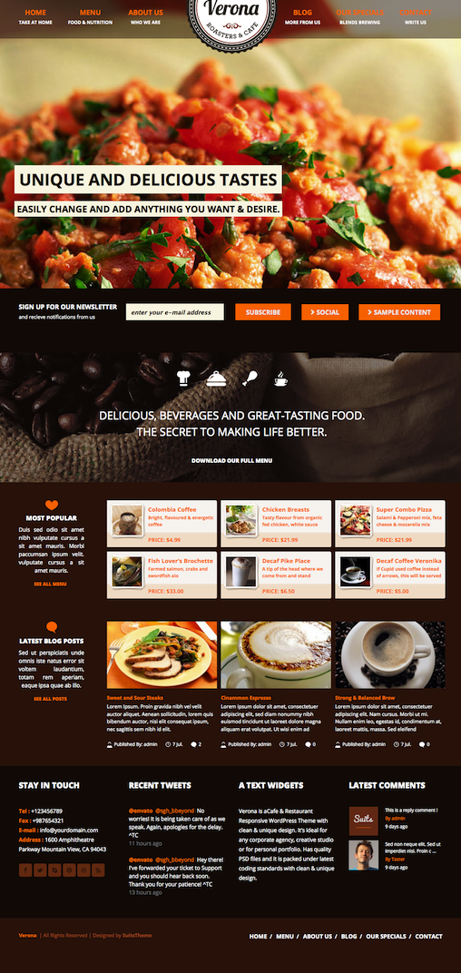 Responsive Cafe WordPress Theme with Full Width Image Layer Slider - Verona
