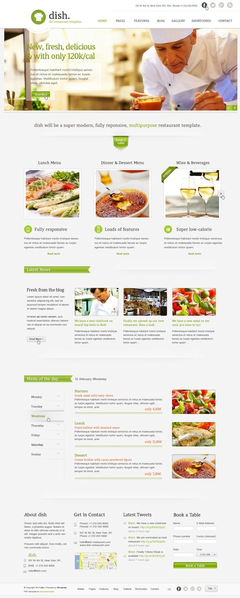Responsive Restaurant Cafe WordPress Theme with Online Reservations - Dish