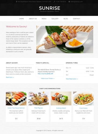 Responsive Restaurant Template with food menu cards - Savory