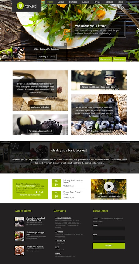 responsive restaurant wordpress theme event manager forked Cost to Create a Bistro Website with Restaurant Wordpress Theme   Forked
