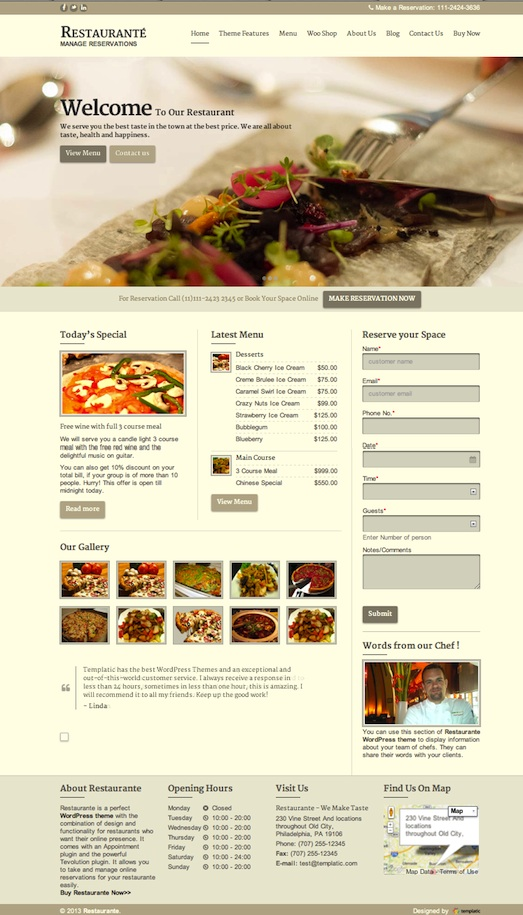 Responsive Restaurant WordPress Theme with Online Reservations - Restaurante
